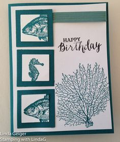 """Image of a card, stamped with Stampin' Up! Stamp Set """"By the Tide."""" Island indigo on white card stock."""