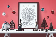 Snowflakes - Charming Christmas - black and white illustration / coloring poster Neutral Color Scheme, Color Schemes, Poster Colour, Black And White Illustration, All Poster, Decor Styles, Snowflakes, How To Draw Hands, Coloring
