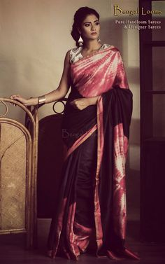 Designer Tussar saree with shibori tie & dye digital print.