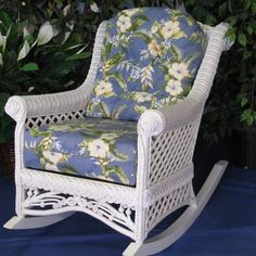 Wicker furniture is most commonly constructed from rattan, which is a vine found in various parts of Asia. Wicker Rocker, Wicker Ottoman, Wicker Chairs, Antique Chairs, Upholstered Chairs, Wicker Patio Furniture, Cane Furniture, Furniture Styles, Painted Furniture