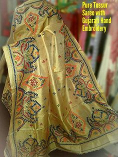 Pure tussar saree with Gujrati hand embroidery Order what's app 7995736811