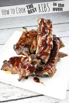 How to Cook the Best Ribs in the Oven recipe - from RecipeGirl.com