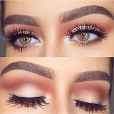 Business professional eye makeup peach bronze nude shadow perfect brow #peacheyemakeup