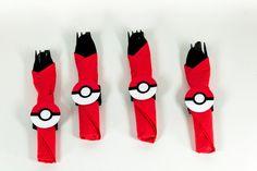 POKEMON Napkin Rings - Pokemon Pokeball Napkin Rings - Pokemon Napkin Rings QTY 12 - Pokemon Birthday Party - Pokemon Party Decorations by ThePaperCutDesigns on Etsy https://www.etsy.com/listing/463950474/pokemon-napkin-rings-pokemon-pokeball