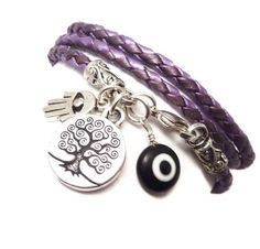 Purple Braided Leather Wrap Bracelet with by charmeddesign1012, $36.00