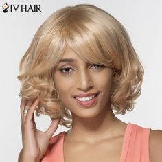Stylish Human Hair Women's Curly Oblique Bang Wig #>=#>=#>=#>=#> Click on the pin to check out discount price, color, size, shipping, etc. Save and like it!