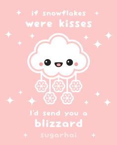 Pastel pink snow cloud animation from sugarhai with the love quote: If snowflakes were kisses, I'd send you a blizzard. Click image to see greeting cards made with this image. Perfect for Valentine's Day!