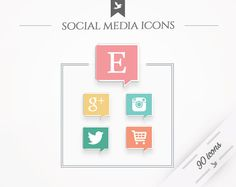 Social Media Icons A Bit More by FlyBirdBranding on Etsy