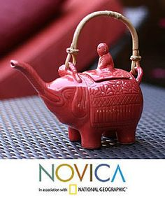 Ceramic 'Buddha and the Ruby Elephant' Teapot (Indonesia)  @Overstock - Add a lovely unique touch to your kitchen or dining room with a handmade teapot  Serving piece features Buddha and elephant design  Serveware is dishwasher safehttp://www.overstock.com/Worldstock-Fair-Trade/Ceramic-Buddha-and-the-Ruby-Elephant-Teapot-Indonesia/3374191/product.html?CID=214117 $32.49