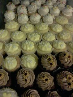 Zillions of cupcakes to go with the huge cake....vintage pie crust style three tier table was used to display and serve the cupcakes...