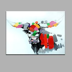 Single Modern Abstract Pure Hand Draw Ready To Hang Decorative The Cow Oil Painting Oil Painting 2015 – $37.99  lightinthebox.com