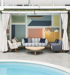 KELLY WEARSTLER | INTERIORS. Outdoor Cabana - Viviane Restaurant at the Avalon Hotel Beverly Hills