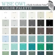 Wise Owl Chalk Synthesis Paint is Zero VOC and nontoxic. Our acrylic blend mineral paint has amazing coverage and superior adhesion to most surfaces! Annie Sloan, Diys, Paint Color Palettes, Old Shutters, Tuscan Design, Wise Owl, Interior Paint Colors, Enamel Paint, Shades Of White