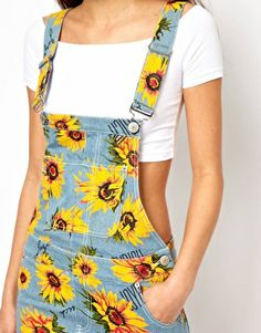 Image 3 of Joyrich Sunflower Dungaree Dress