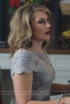 Alice's grey embroidered dress on Riverdale.  Outfit Details: https://wornontv.net/70199/ #Riverdale
