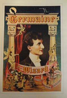 Vintage Magic Poster, Great Rameses Eastern Mystic, Germaine Wizard Conjuring Illusion, Pyramids,