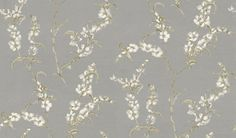 Japonica (AT1422) - Anna French Wallpapers - A pretty floral design with an all over pattern of sprays of Japonica flowers, with a hand painted effect.  Shown here in white and green on a metallic silver background. Paste the wall. Please request sample for true colour match.