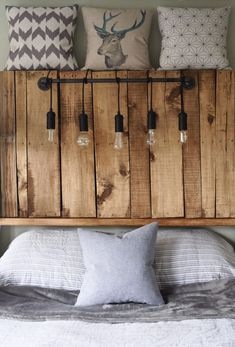 Build headboard for bed from Euro pallets yourself - DIY instructions - . - Build headboard for bed from Euro pallets yourself – DIY instructions – build - Diy Furniture Projects, Diy Pallet Projects, Pallet Furniture, Pallet Bed With Lights, Headboard With Lights, Diy Pallet Bed, Diy Bed, Diy Möbelprojekte, Palette Diy