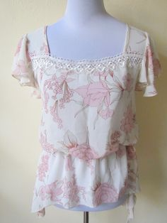 Spring Sale: sheer ivory with pastel pink floral blouson top (small), $10