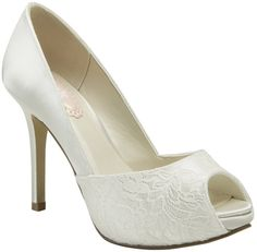 "Ivory Pink Fancy Bridal Shoes $101.99  ""Delicate and beautiful lace embellished peep toe d'Orsay pumps. The covered platform front is adorned with a lace overlay giving this style an elegant look. The 3 3/4"" heel is great for any occasion. """