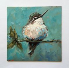 I LOVE THIS PAINTING! Hummingbird painting 6x6 inch original by LaveryART on Etsy