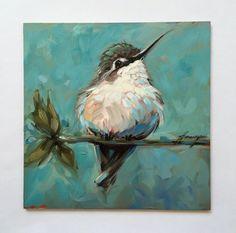 I LOVE THIS PAINTING! Hummingbird painting 6x6 inch original by LaveryART on Etsy