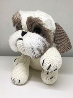 Want to crochet an unique and personal gift yourself? Crochet your own amigurumi Shihtzu with this cute pattern! Besides the keychain size, now finally also available in bigger size!  Fun to collect or make somebody happy. It also looks very nice in the nursery! Note: This is only the crochet Crochet Animal Amigurumi, Crochet Teddy, Cute Crochet, Crochet Animals, Crochet Dolls, Crochet Baby, Crochet Disney, Crochet Dog Patterns, Amigurumi Patterns