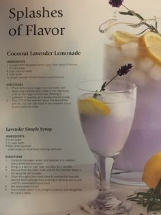 Coconut Lavender Lemonade - All About Flavored Lemonade, Peach Lemonade, Homemade Lemonade, Lavendar Lemonade Recipe, Smoothies, Smoothie Drinks, Water Recipes, Alcohol Recipes, Fancy Drinks