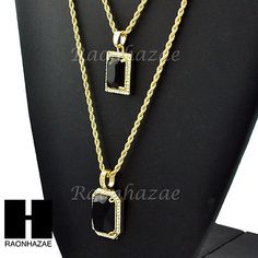 "HIP HOP ICED OUT BLACK ONYX PENDANT 24"" 30"" ROPE CHAIN NECKLACE COMBO SET GN250"