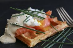 Smoked trout and cream cheese waffles - gluten free Decadent Chocolate, Chocolate Treats, Love Chocolate, Cheese Waffles, Smoked Trout, Tasty, Yummy Food, The Dish, Gluten Free Recipes