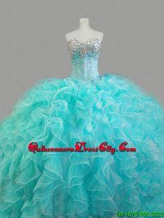 Summer Elegant Beaded Sweetheart Quinceanera Dresses in Aqua Blue - http://m.quinceaneradresscity.com