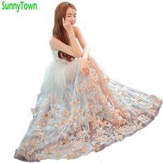 168c2385199fde 3D Butterfly Flower Embroidery Maxi Dress Women Floral Long Tulle Summer  Dress Vintage Mesh Robe De Soiree Longue Dames Jurken-in Dresses from  Women s ...
