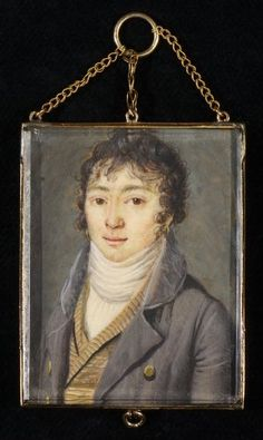 """Double sided miniature portrait of a young man with initiales """"CB"""""""