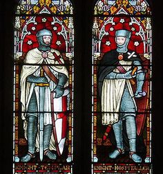 Knight Templar and Knight Hospitaller,   stained glass window,   St Andrew's Church,  Temple Grafton, Stratford district, Warwickshire, England....   http://www.templar-quest.com