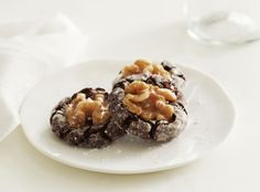 Diamond Chocolate Walnut Crinkle Cookies