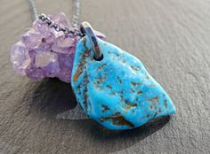 raw turquoise pendant silver sleeping beauty by CrazyAssJD on Etsy