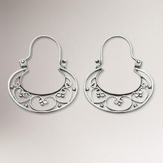 One of my favorite discoveries at WorldMarket.com: Novica Our Three Hearts Sterling Silver Hoop Earrings