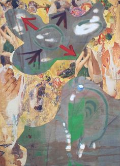 Elisha Sarti, That, That and That, 2013 Acrylic with collage on wood 14.25 in x 20 in x .25 in / 36.2 cm x 50.8 cm x .64 cm.