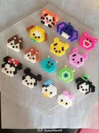 Tsum Tsum hama beads - this is so cute! Easy Perler Bead Patterns, Melty Bead Patterns, Perler Bead Templates, Diy Perler Beads, Perler Bead Art, Beading Patterns, Melty Beads Ideas, Hamma Beads Ideas, Knitting Patterns