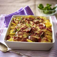 Kartoffel-Schweinelendchen-Gratin in Speck-Tomatenrahm Rezept