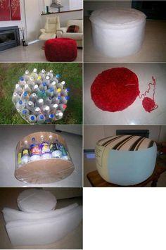 Un piecero hecho con botellas plasticas..