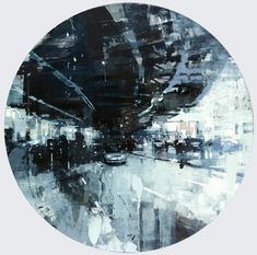 """Jeremy Mann """"SF 12"""" - 48 DIA, oil on panel - at Principle Gallery"""