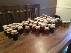 Jars of jams, pickles and chutneys For Christmas hampers 😊