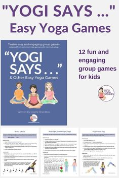 Yoga Game Ideas for Kids – simple yoga poses, brain breaks, activities for kids Introduce yoga in a fun and light-hearted way … through yoga games! This book includes 12 easy and engaging group games based on beloved children's games. Kids Yoga Poses, Easy Yoga Poses, Yoga For Kids, Mindfulness For Kids, Mindfulness Activities, Pranayama, Games For Kids, Activities For Kids, Yoga Games