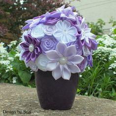 Kanzashi Violet Flower Bouquet