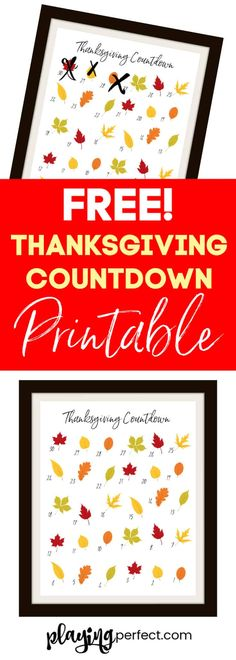 Printable To Count Down The Days To Thanksgiving - Playing Perfect Thanksgiving countdown printable! A FREE Thanksgiving countdown printable calendar to count down the days to Thanksgiving! You'll love this Thanksgiving countdown calendar! Thanksgiving Countdown, Free Thanksgiving Printables, Thanksgiving Crafts, Thanksgiving Decorations, Happy Thanksgiving, Fall Crafts, Crafts For Kids, Diy Crafts, Printable Labels