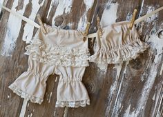 Ruffle Hat and Bloomer Set in Light Tan. $24.95, via Etsy.