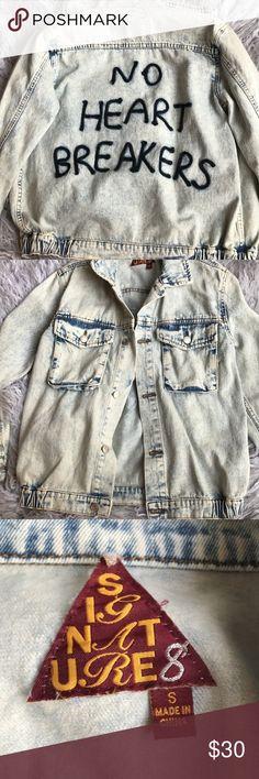 jean jacket (no heart breakers) never worn cute jean jacket. i bought it at a boutique in LA. Jackets & Coats Jean Jackets