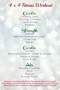 Fast and Furious 4 x 4 FITmas Workout! Fast and Furious 4 x 4 FITmas Workout! Fun Workouts, At Home Workouts, Circuit Training Workouts, Body Workouts, Group Workouts, Monthly Workouts, Fitness Exercises, Holiday Workout, Wednesday Workout