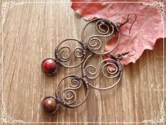 Long Copper Earrings with Agate Wirewrapping by CopperyArt on Etsy